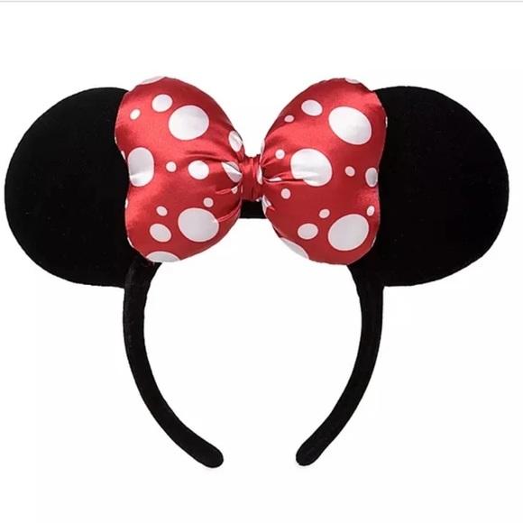 Disney Minnie Satin Polka Dot Bow Ear Headband